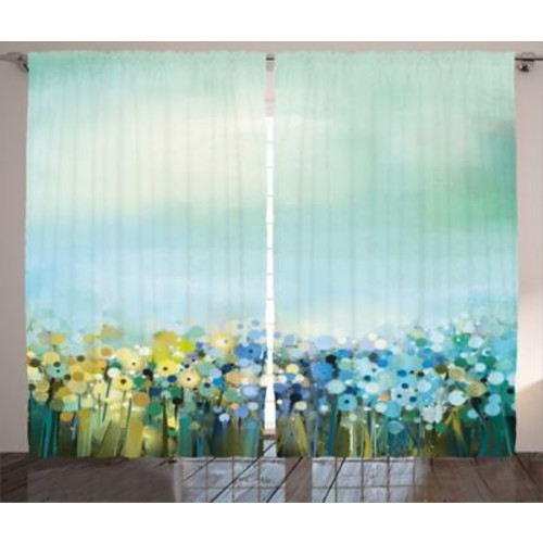 Candor Watercolor Flower Graphic Print and Text Semi-Sheer Rod Pocket Curtain Panels (Set of 2)