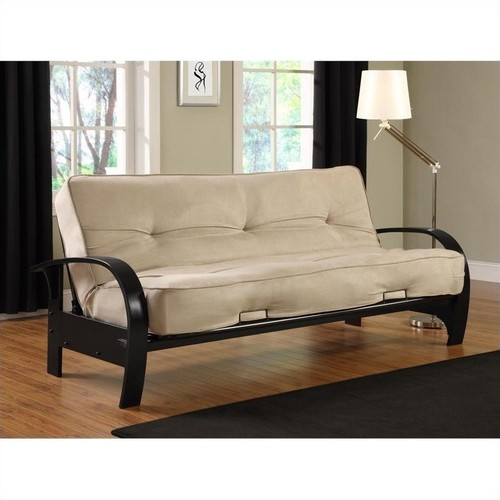 DHP Premium Madrid Futon Frame with Microfiber Mattress in Full in Tan