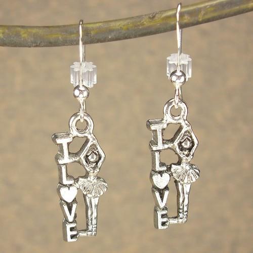 Jewelry by Dawn Antique Silver Pewter Love Ballerina Dance Earrings