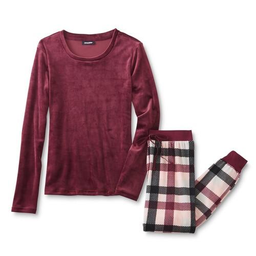 Joe Boxer Women's Velour Pajama Top & Pants - Plaid [Fit : Women's]