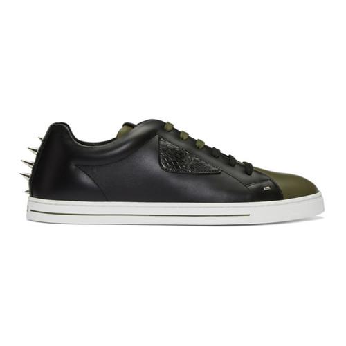 FENDI Black & Green Stud Sneakers