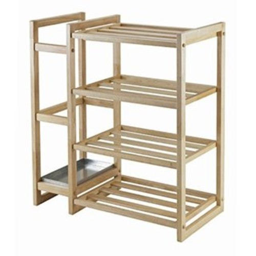 Isabel Natural-finish Shoe Rack with Umbrella Stand and Tray