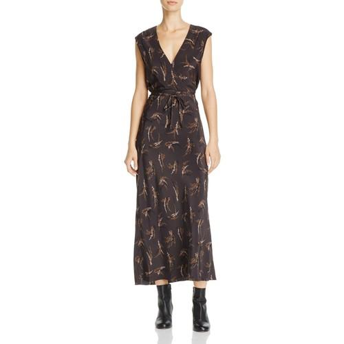 Tie-Waist Silk Midi Dress