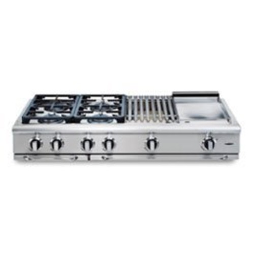 Capital Precision 48 In. Stainless Steel Liquid Propane Range Top Cooktop - GRT488L