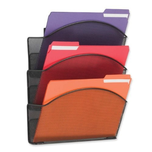 Safco Products 5652BL Onyx Mesh Triple Pocket Wall Rack, Letter Size, Black [3 Pocket Letter]