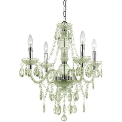 AF Lighting Naples 4-Light Chrome Mini Chandelier with Seafoam Green Plastic Bead Accents