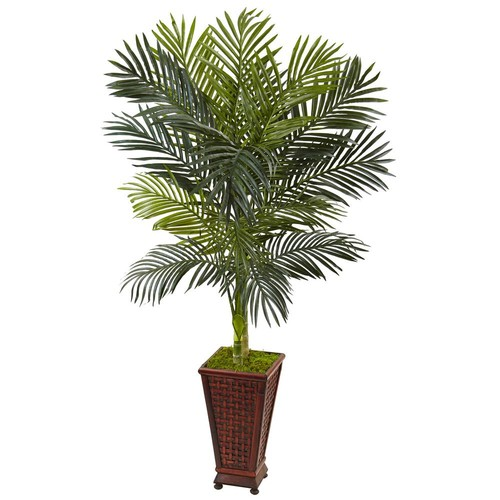 Nearly Natural Indoor Golden Cane Palm Artificial Tree in Decorative Planter