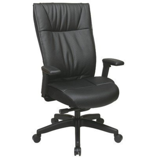 SPACE Seating Contemporary Leather Back and Seat, Ultra 2-to-1 Synchro Tilt Control, Pneumatic Seat Height Adjustment and Padded Adjustable Arms with Nylon Base Executive Chair, Black