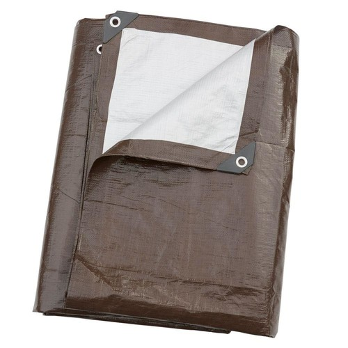 TAFCO PRODUCTS 10 ft. x 12 ft. Heavy-Duty Brown/Silver Reversible Poly 10 mil Tarp Kit Include 4 Free Bungee Hook Tie Down