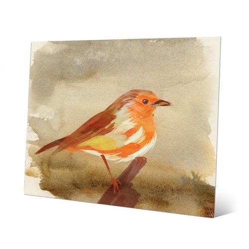 Watercolor Tangerine Robin Wall Art Print [option : Watercolor Tangerine Robin 11