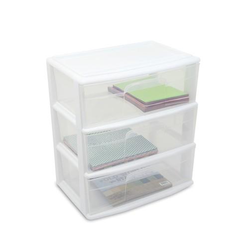 Essential Home 3 Drawer Wide Storage Cart