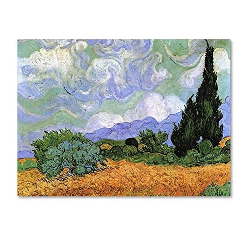 Wheatfield with Cypresses, 1889 by Vincent van Gogh, 35x47-Inch Canvas Wall Art