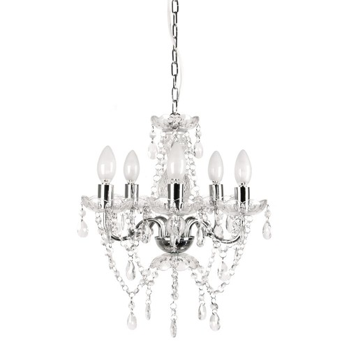 Tadpoles 5-Light Chrome and White Crystal Chandelier