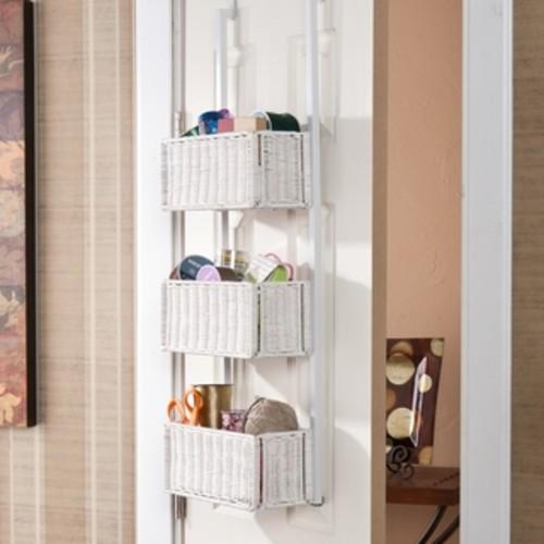 Upton Home Burnet White Over-the-Door 3-tier Basket Storage