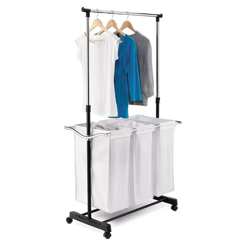 Honey-Can-Do Triple Sorter Laundry Center with Hanging Bar