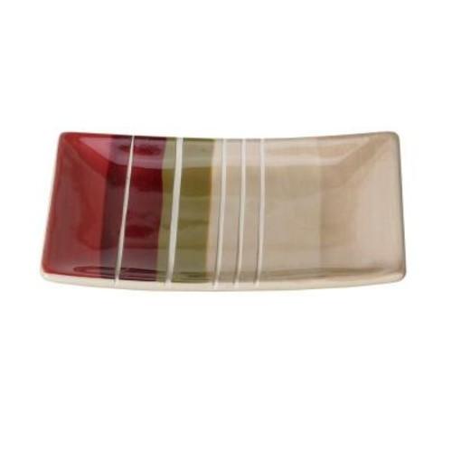 Saturday Knight Madison Stripe Ceramic Soap Dish in Red