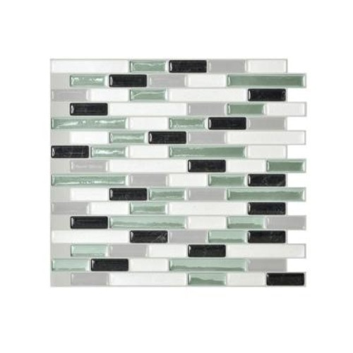 Smart Tiles Muretto Prairies 10.25 in. x 9.125 in. Mosaic Peel and Stick Self-Adhesive Decorative Wall Tile in Green (12-Pack)