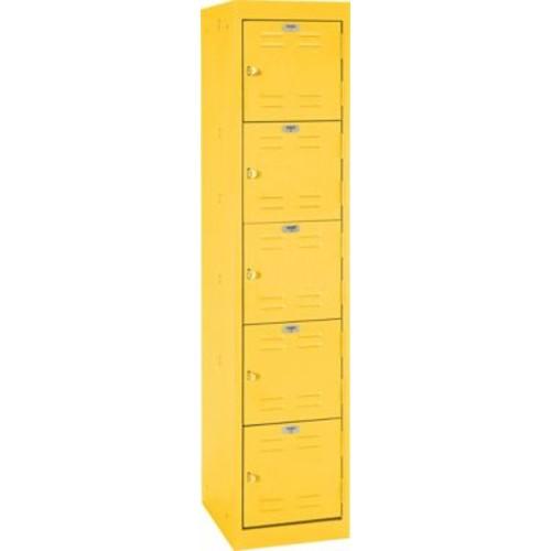Five tier locker, hasp handle, yellow