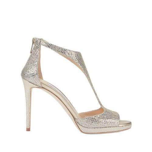 JIMMY CHOO Lana Glitter T-Strap Platform Sandals