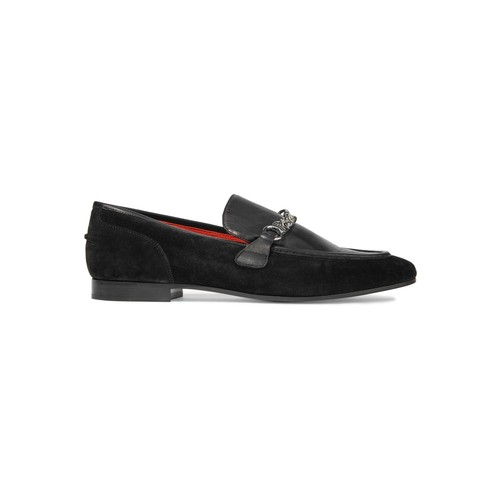 Cooper chain-trimmed leather and suede loafers