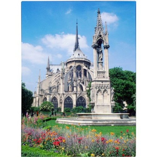 Notre Dame in Spring by Kathy Yates, 35x47-Inch Canvas Wall Art [35x47-Inch]