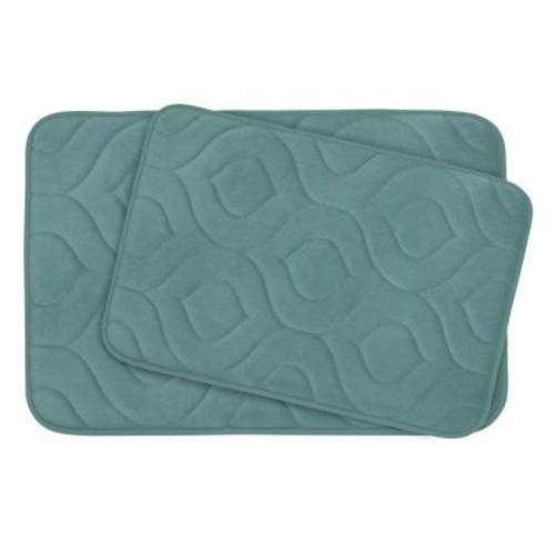BounceComfort Naoli Marine Blue 20 in. x 30 in. Memory Foam 2-Piece Bath Mat Set