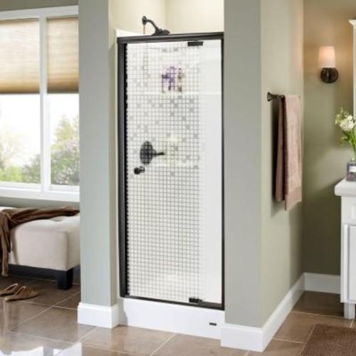 Delta Mandara 31 in. x 66 in. Semi-Frameless Pivot Shower Door in Bronze with Mozaic Glass
