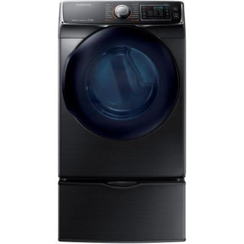 Samsung 7.5 cu. ft. Electric Dryer with Steam in Black Stainless Steel, ENERGY STAR