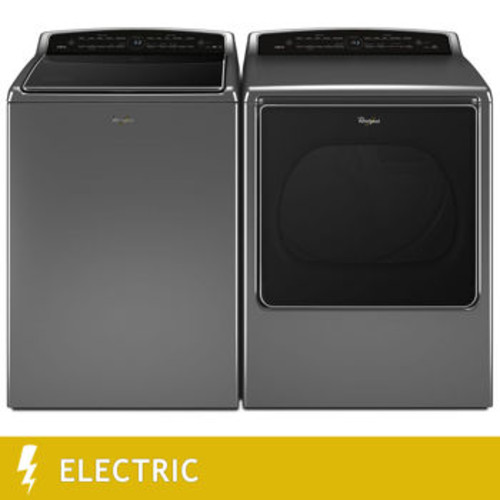 Whirlpool 5.3CuFt Smart Cabrio Top Load Washer 8.8CuFt ELECTRIC Smart Cabrio Dryer with Laundry App in Chrome Shadow