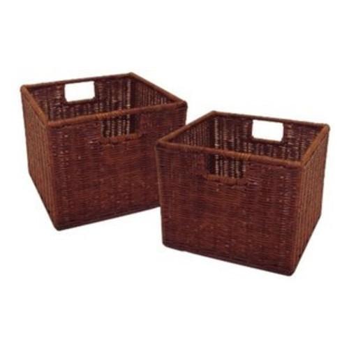 Leo Tan Rattan Small Wired Baskets (Set of 2) - Antique Walnut