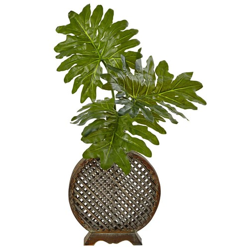 Nearly Natural Indoor Selloum Artificial Plant in Open Weave Vase