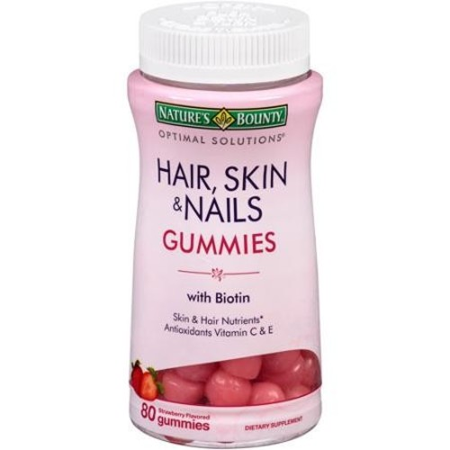 Nature's Bounty Optimal Solutions Hair Skin & Nails Gummies, Strawberry, 80 Count