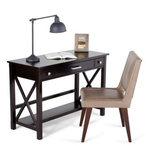 Simpli Home Kitchener Desk in Dark Walnut Brown (3AXCRGL008)