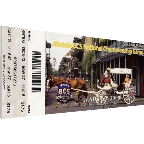 That's My Ticket LSU Tigers 2008 BCS National Championship Canvas Mega Ticket