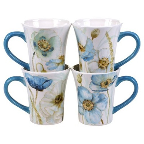 Certified International The Greenhouse Set of 4 Poppies Mug 14 oz. Assorted