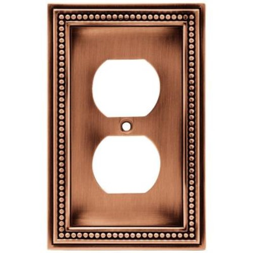 Liberty Beaded Decorative Single Duplex Outlet Cover, Aged Brushed Copper