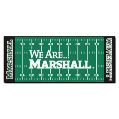 FANMATS NCAA -Marshall University Green 2 ft. 6 in. x 6 ft. Indoor Football Field Runner
