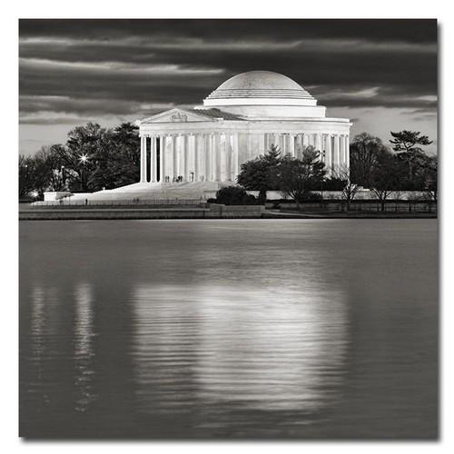 Trademark Global Gregory O'Hanlon 'Jefferson Memorial- Night' Canvas Art [Overall Dimensions : 18x18]