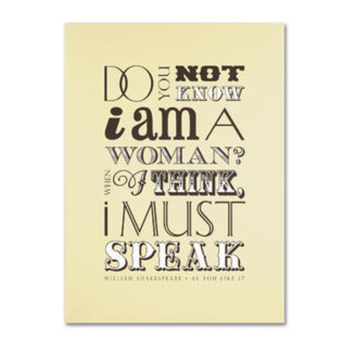 Trademark Global Women Must Speak by Megan Romo Textual Art on Wrapped Canvas Size: 19