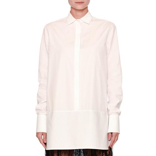 VALENTINO Lace-Trim Poplin Tunic Blouse, White/Black
