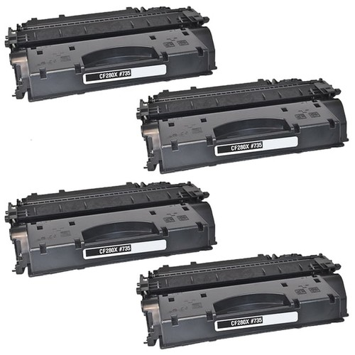 4PK Compatible CF280A Black Toner Cartridge For HP LaserJet Pro 400 Series HP LaserJet 400 M401 (Pack of 4)