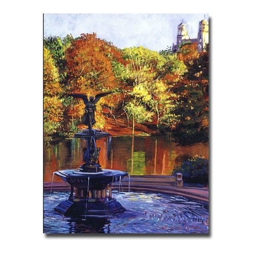 Trademark Global David Lloyd Glover 'Fountain at Central Park' Canvas Art [Overall Dimensions : 18x24]