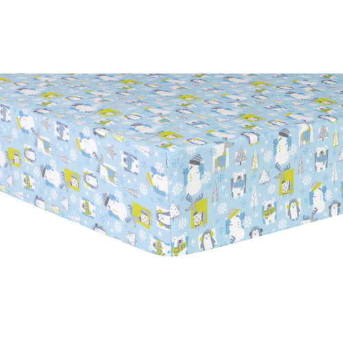 Trend Lab Snow Pals Blue Deluxe Flannel Fitted Crib Sheet