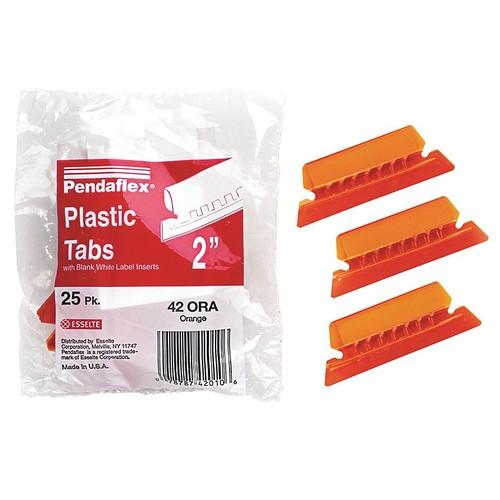 Hanging Folder Insert Tabs, Orange, 25PK