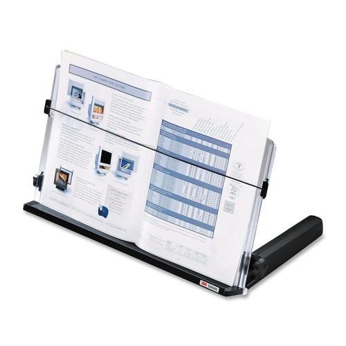3M Adjustable Document Copy Holder, In-line with Monitor Minimizing Head and Neck Movement, 300 Sheet Capacity Holds Sheets to Books, Elastic Line Guide Keeps Pages Open, 18