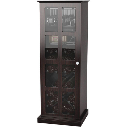 Atlantic Wood Bar Wine Rack Glass Liquor Cabinet with 24 Bottle Holder and Glass Storage