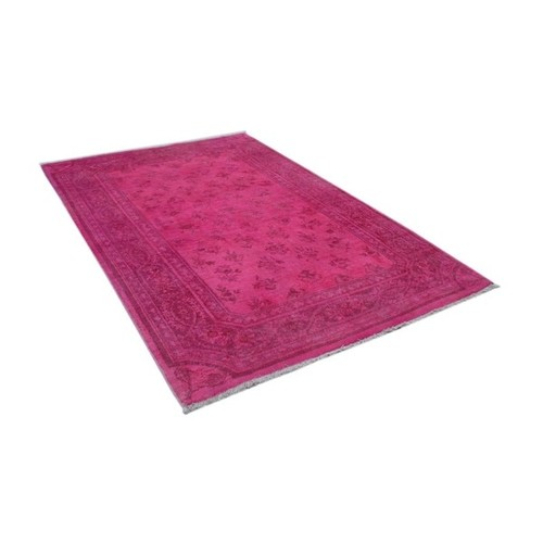 Affan Overdyed Pink/Dark Pink Wool Rug (4'2 x 6'3)