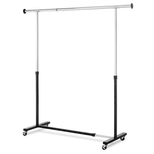 Whitmor 74.4 in. W x 63.5 in. H Chrome/Black Expandable Garment Rack