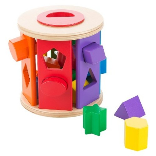 Melissa & Doug Match and Roll Shape Sorter - Classic Wooden Toy