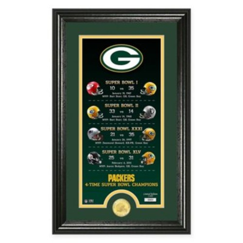 NFL Green Bay Packers Limited Edition Super Bowl Legacy Framed Wall Art with Bronze Team Coin